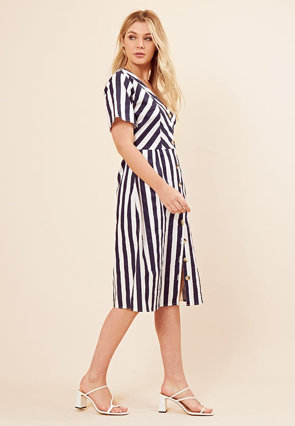 Stripe Button Front Midi Dress <br> Multi