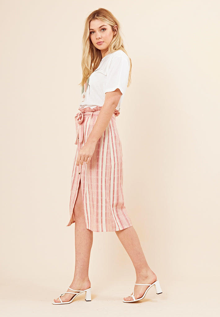 Paper Bag Waist Midi Skirt <br> Multi