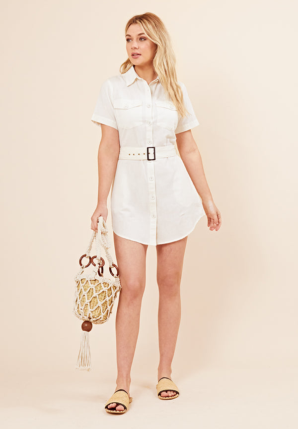 Cargo Pocket Shirt Dress <br> White
