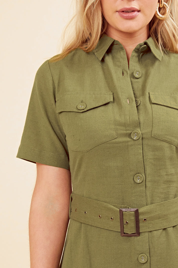 Cargo Pocket Shirt Dress <br> Khaki