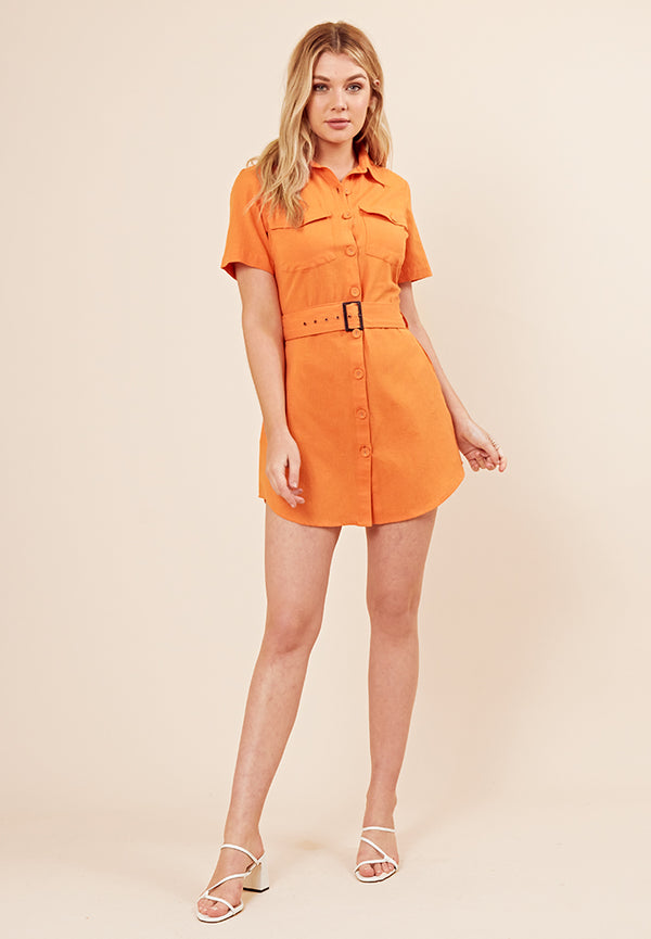 Cargo Pocket Shirt Dress <br> Orange