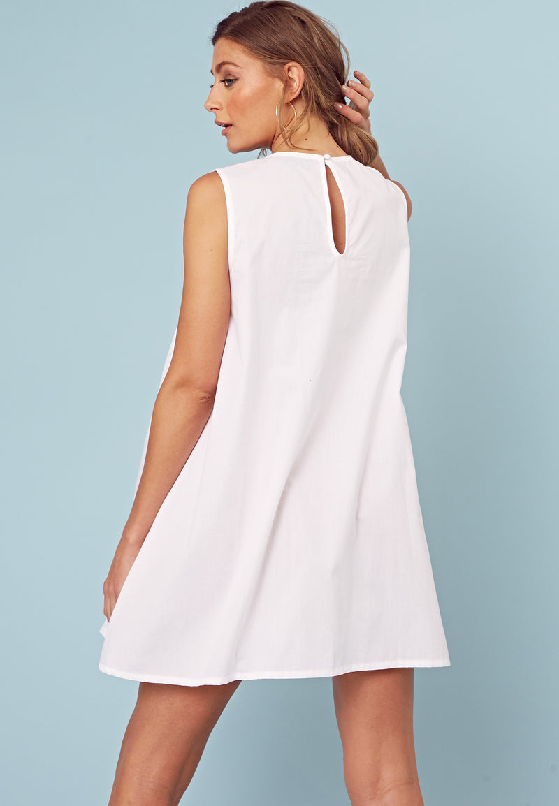 Embroidered Smock Dress <br> White