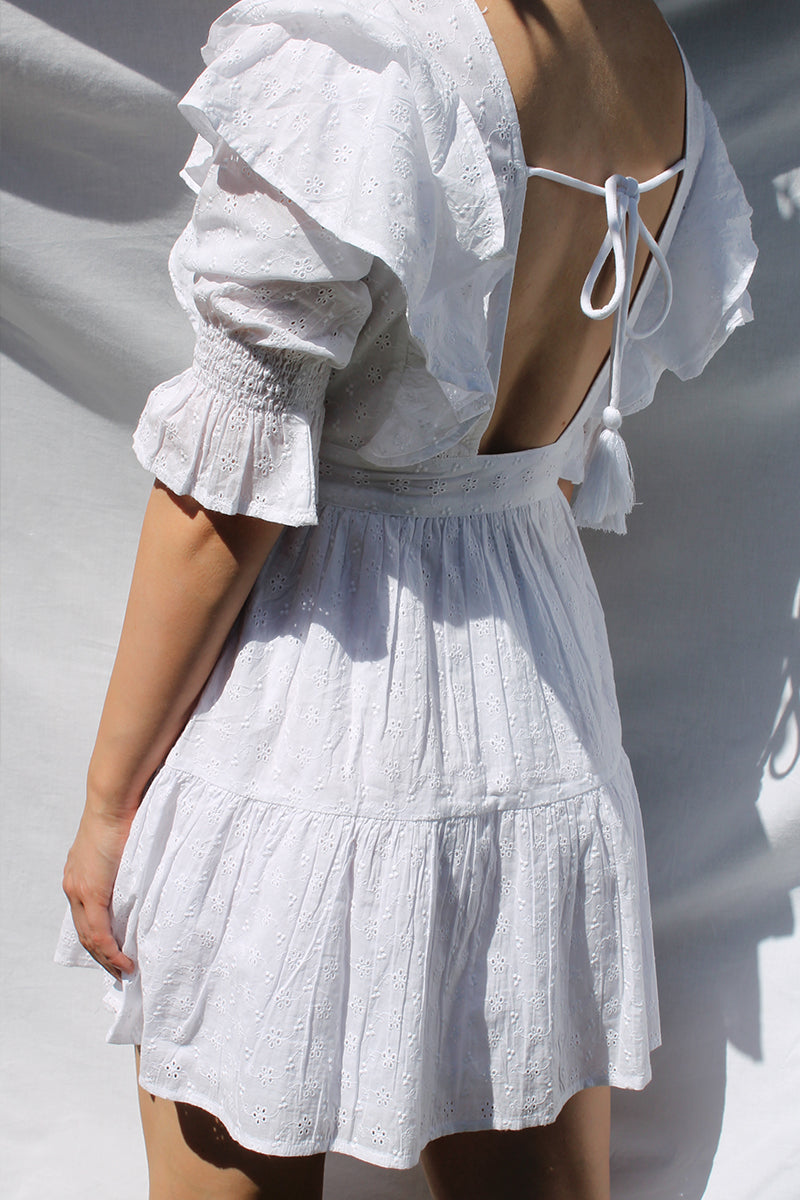 Frill Detail Mini Skater Dress <br/> White