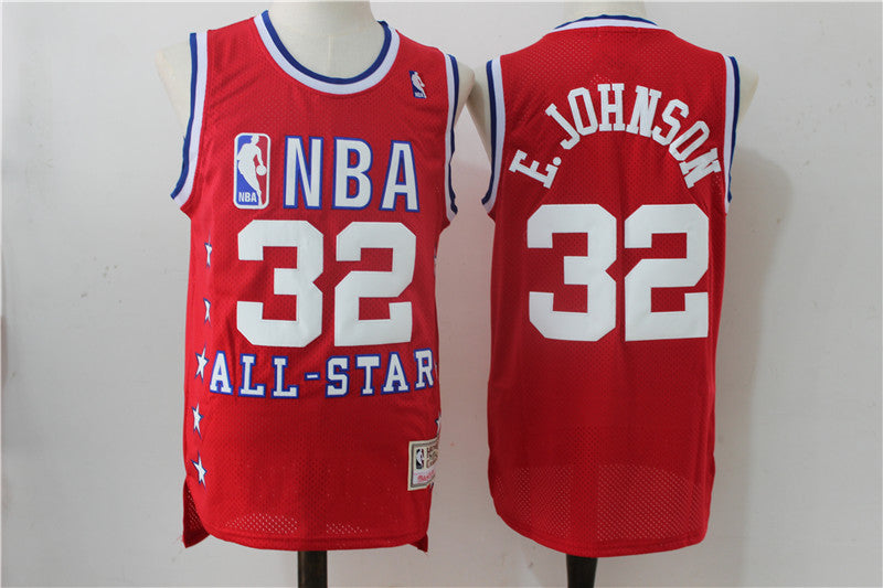 381dc69cf Mens Lakers  32 Magic Johnson 96 All star red basketball jersey ...