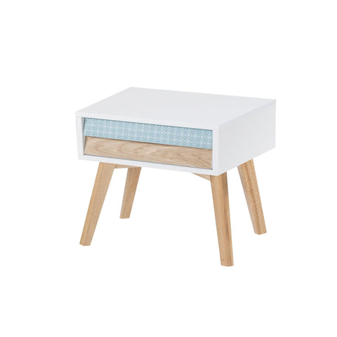 Table Chevet - Hailey Blanc - Bleu - Bois