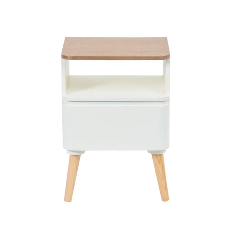 Table Chevet - Madison 210 Blanc - Naturel