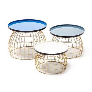 Table d'appoint - Laudatio 160 Lot de 3 - Bleu - Gris - Blanc
