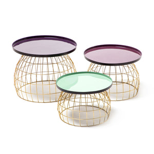 Table d'appoint - Laudatio 260 Lot de 3 - Prune - Violet - Vert Clair