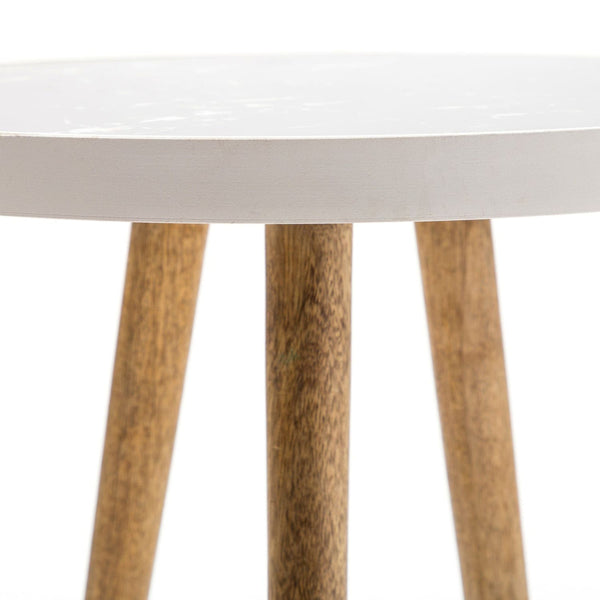 Table d'appoint - Mary 160 Blanc - Naturel
