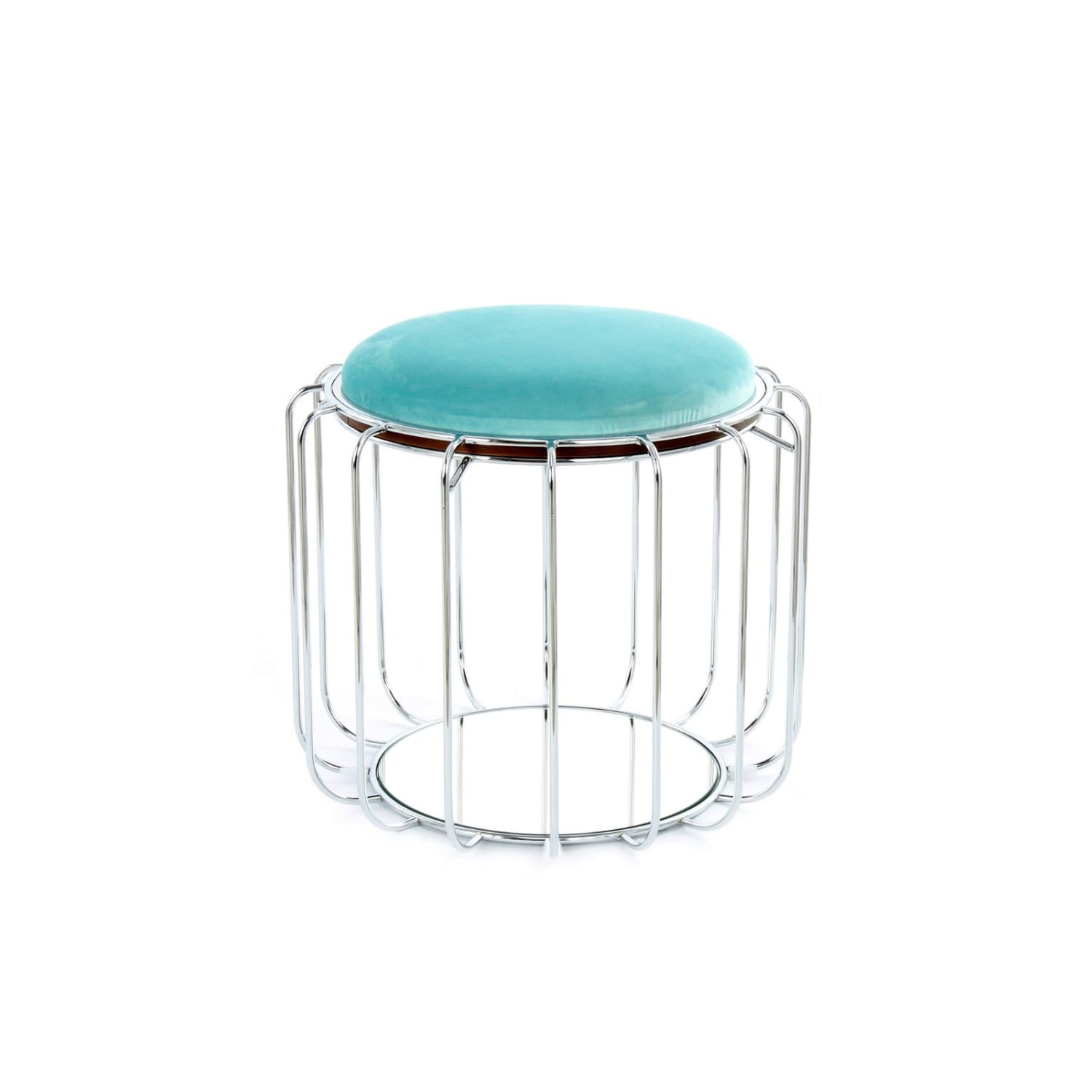 Table d'appoint & Pouf - 2 IN 1 - Comfortable 110 Menthe - Argent