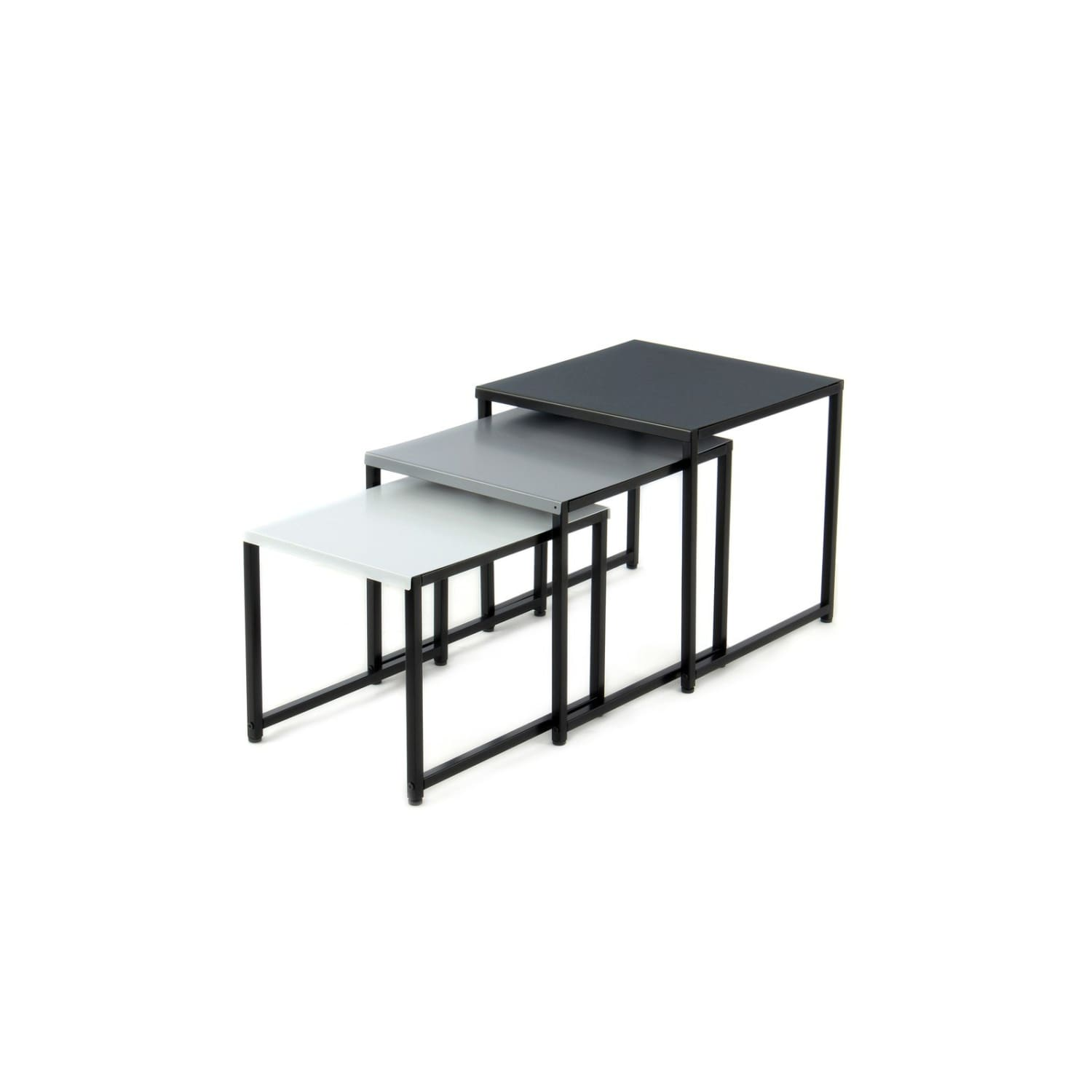 Table Gigogne - South 110 Lot de 3 Noir - Gris - Blanc