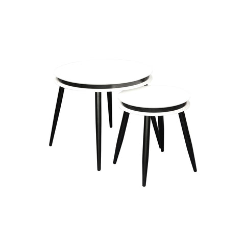 Table Gigogne - Suri 110 Lot de 2 Blanc - Noir