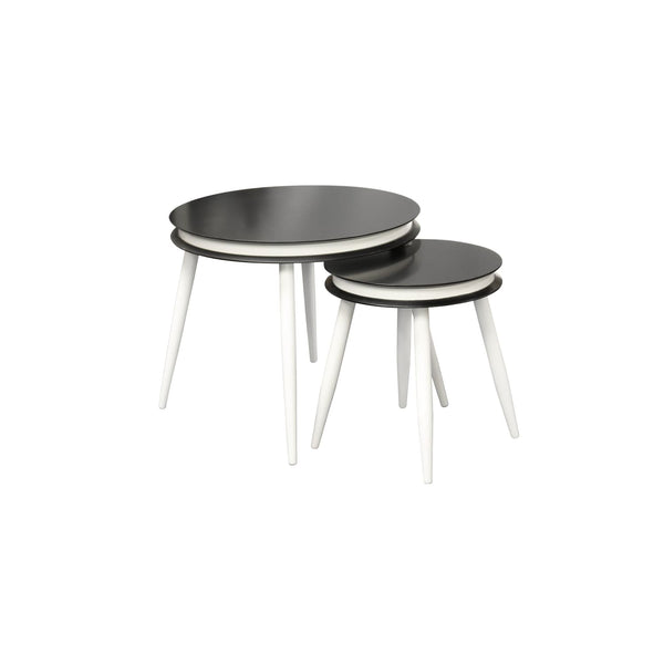 Table Gigogne - Suri 110 Lot de 2 Noir - Blanc