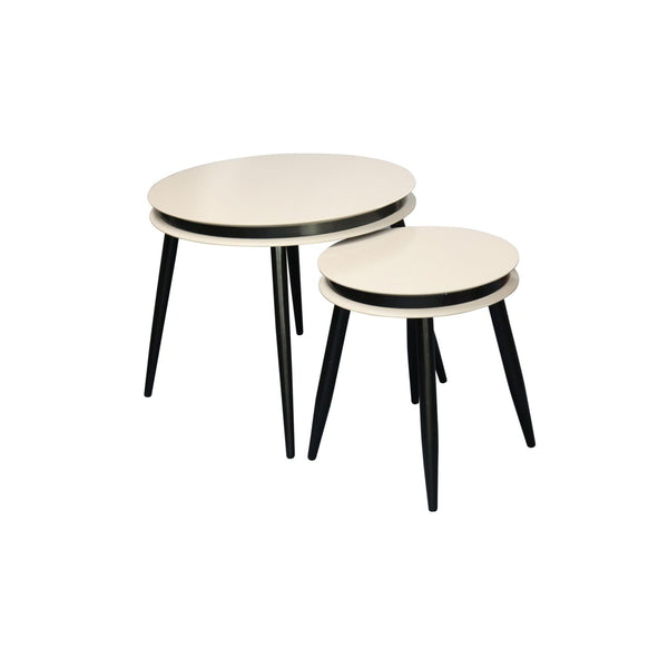 Table Gigogne - Suri 110 Lot de 2 Taupe - Noir