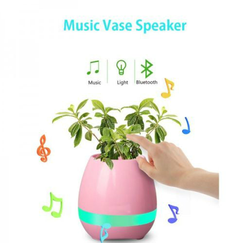 YO+ Illuminated Flower/Real Plant Pot, Wireless Bluetooth Speaker, Led Night Lamp/Light, Piano Playing mode, Lighting Function, Soothing Music mode, USB Rechargeable, Touch Mode