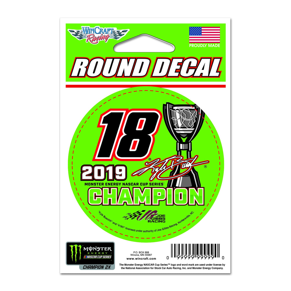 Kyle Busch 2019 MENCS Champion Round Decal 3""