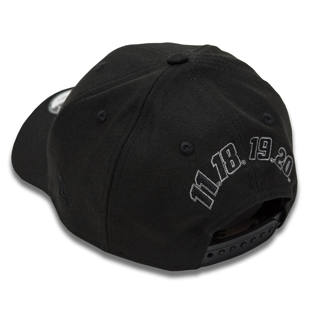 JGR New Era 940 Snapback Black on Black Four Number Hat