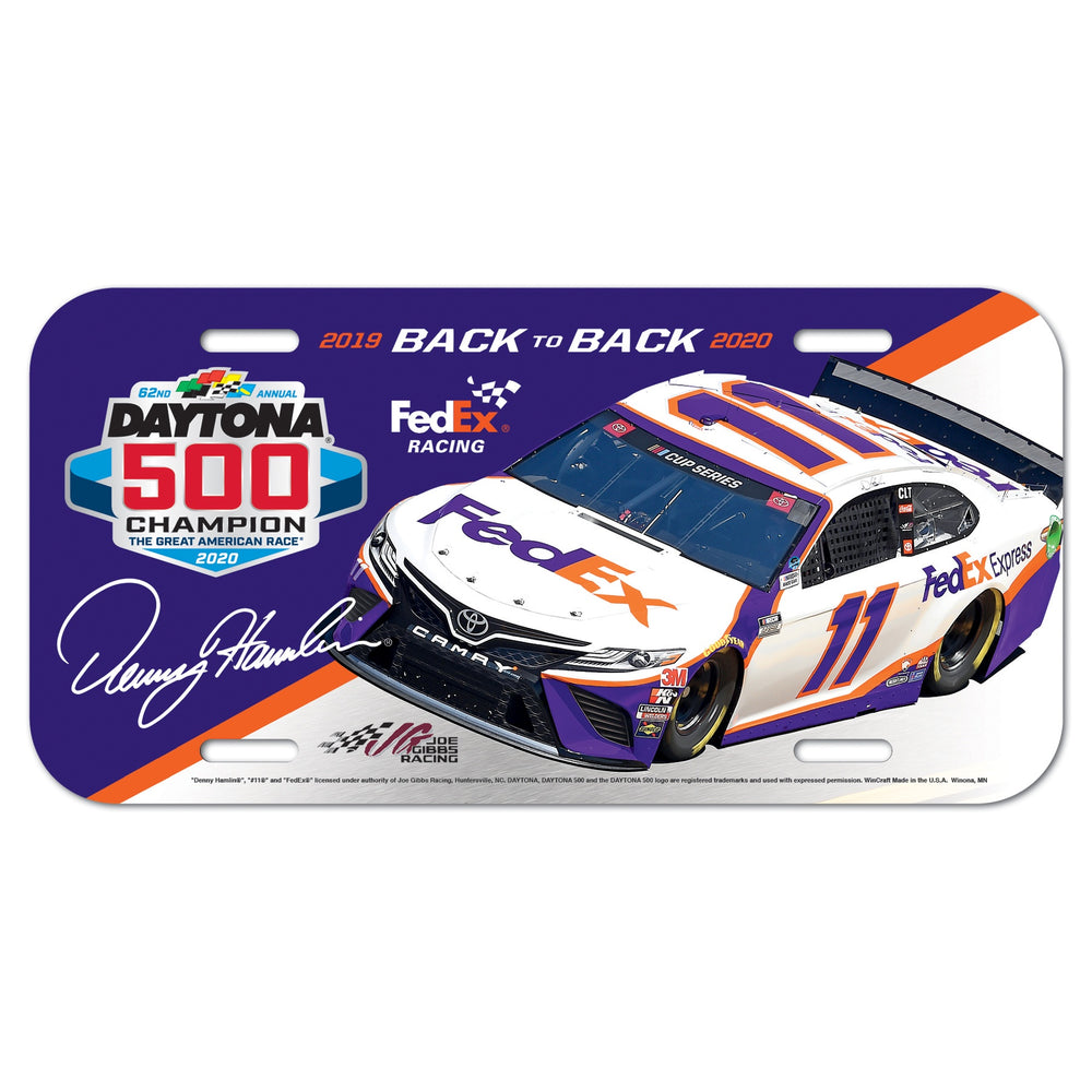 Denny Hamlin FedEx Daytona 500 Back to Back Car License Plate