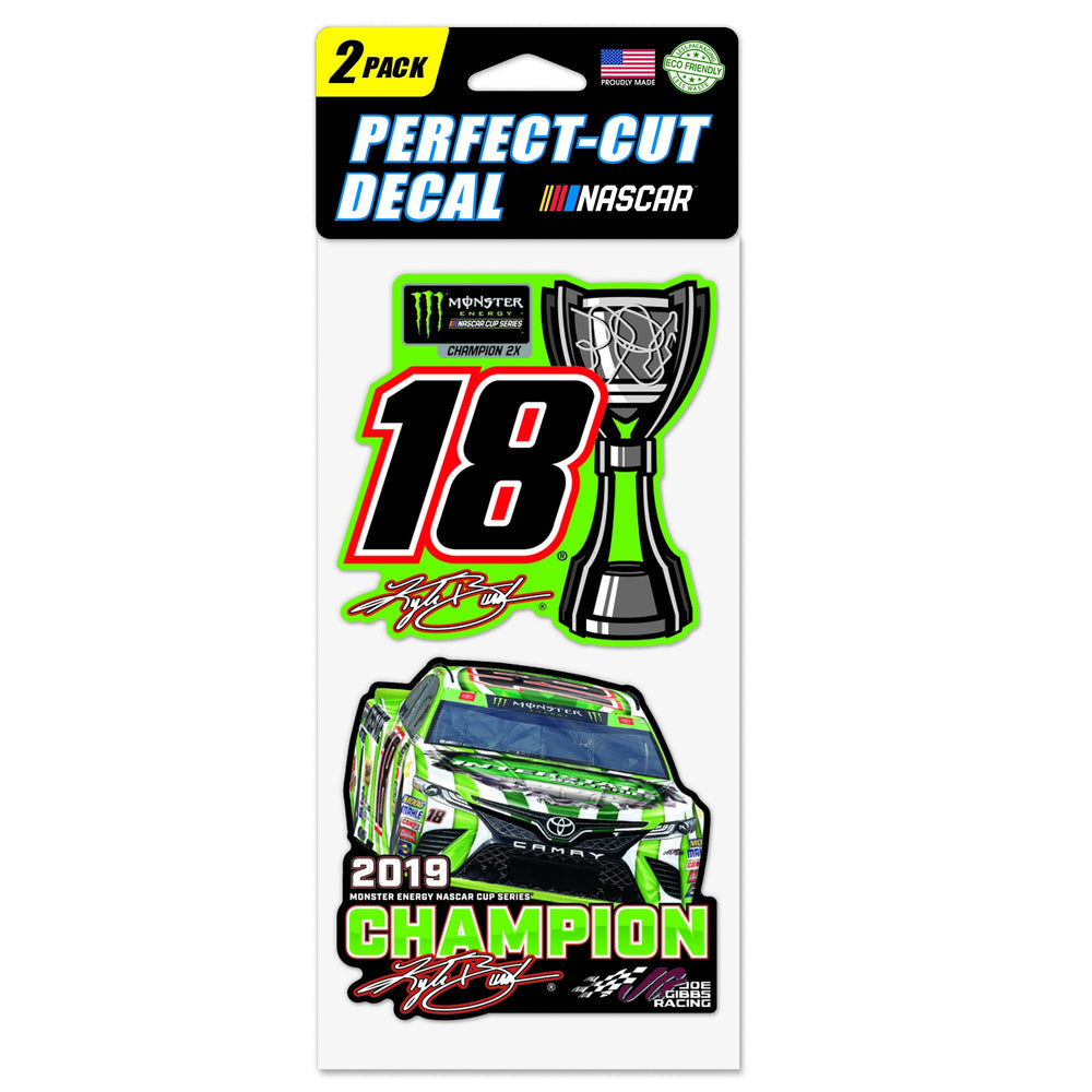 "Kyle Busch 2019 MENCS Champion Perfect Cut  Decal 4"" x 8"" set of 2"