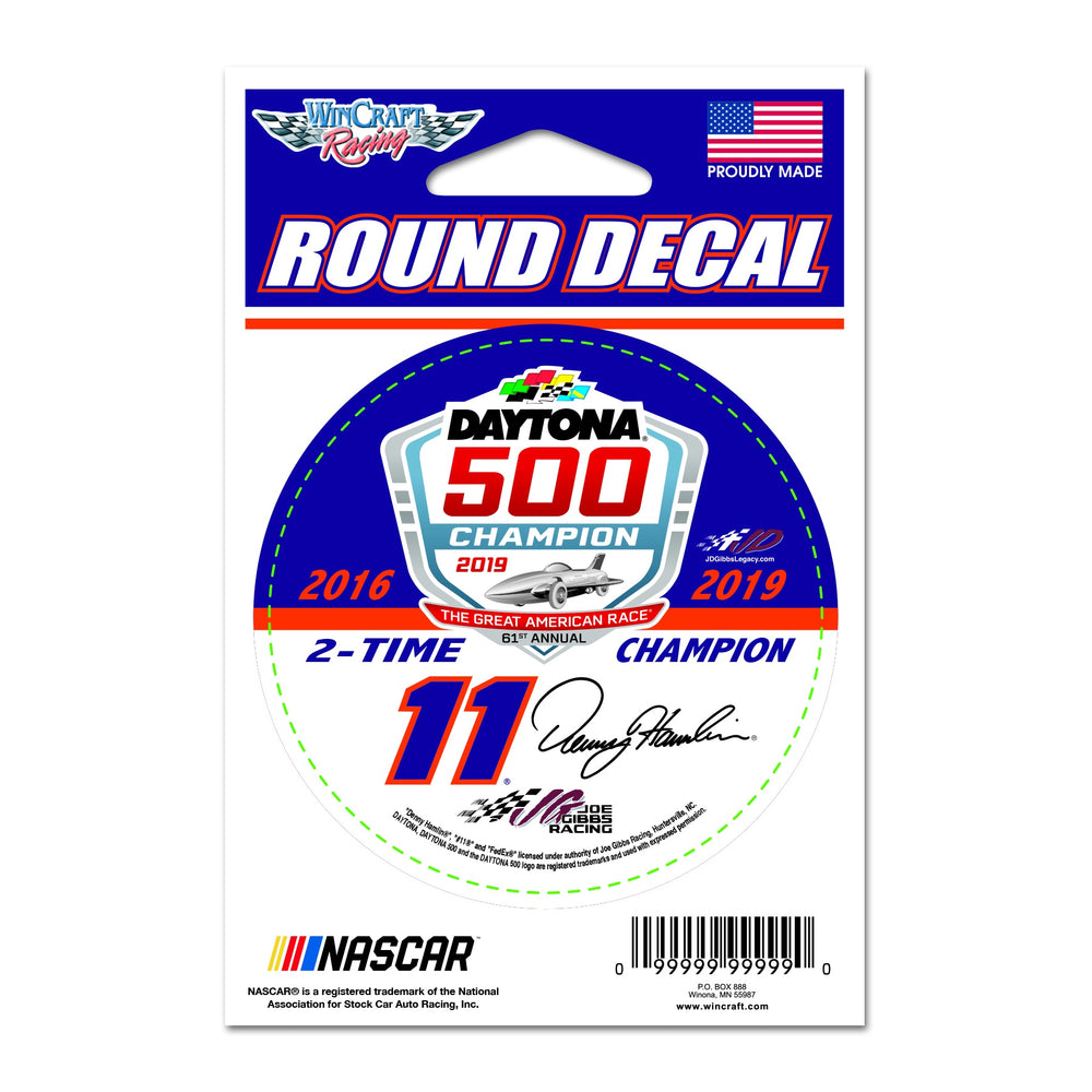"Denny Hamlin FedEx D500 Champ 3"" Round Decal"
