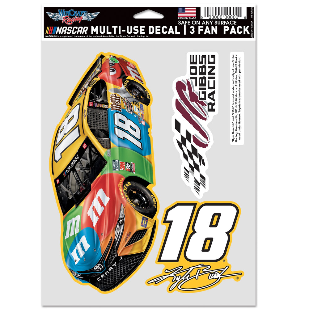Kyle Busch 2020 3 Fan Pack Multi Use Decal
