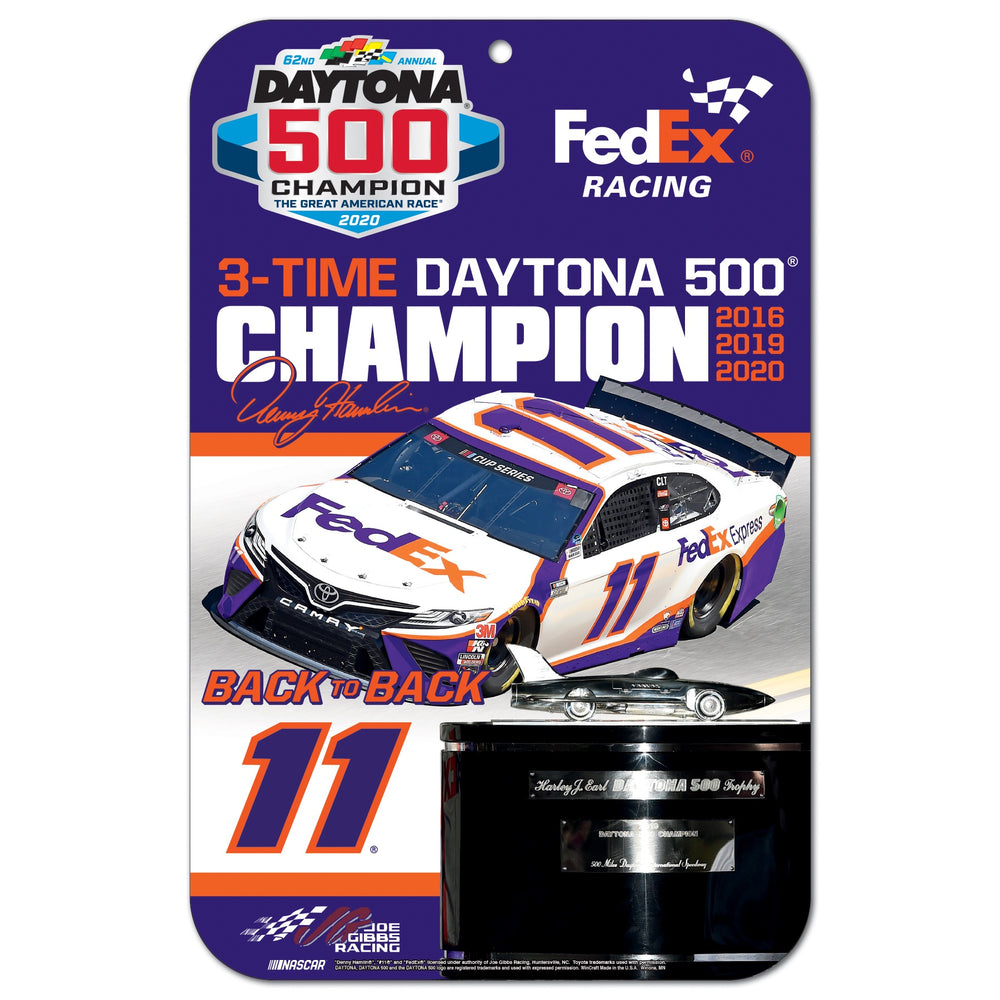 Denny Hamlin FedEx 3 Time Daytona 500 Winner 11x17 Garage Area Sign