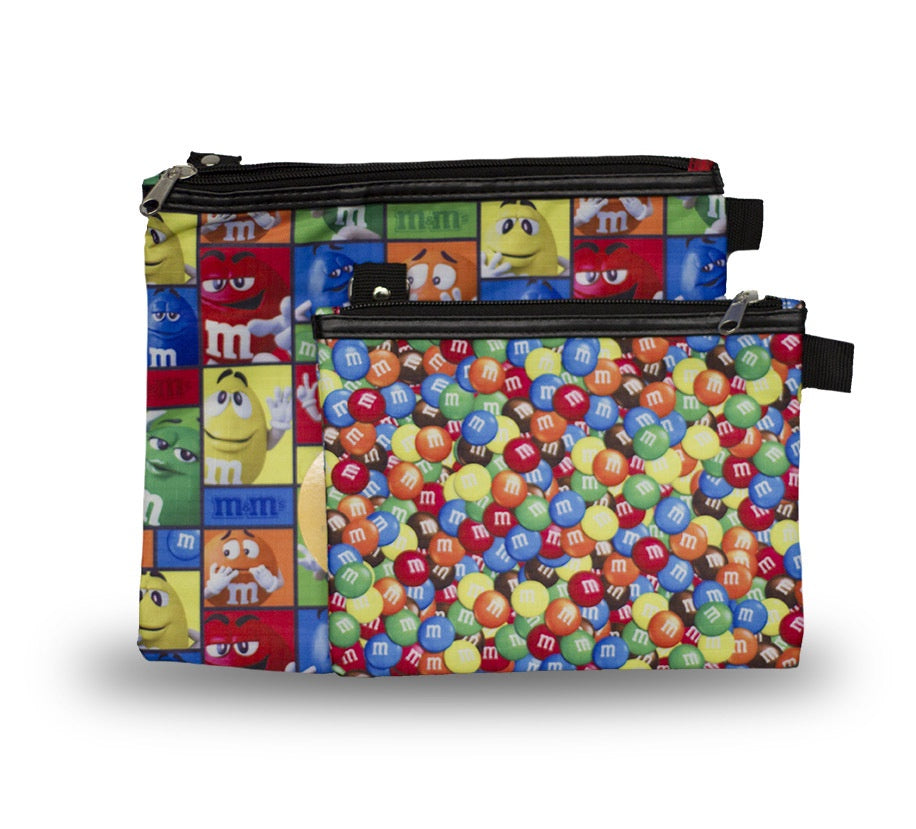M&M Candy Print/Character Profile 2 Pack Zipper Pouch Set