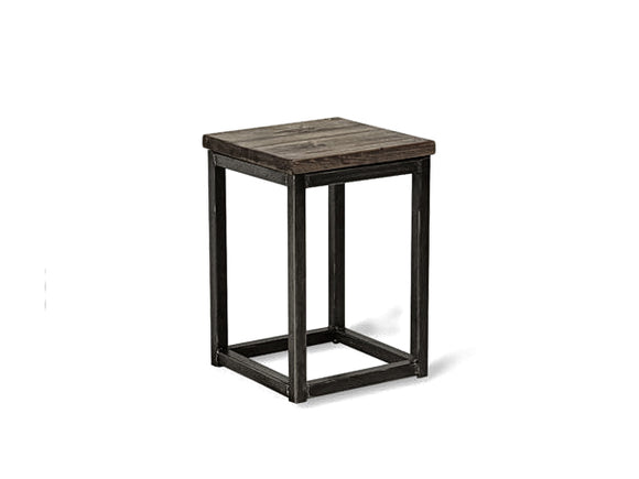 solid reclaimed wood and metal stools