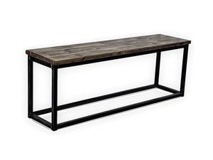 distressed wood dining bench