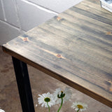 industrial style reclaimed wood bar table