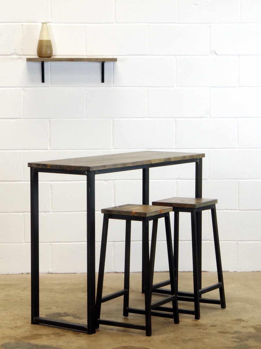 wood and metal bar and bar stools