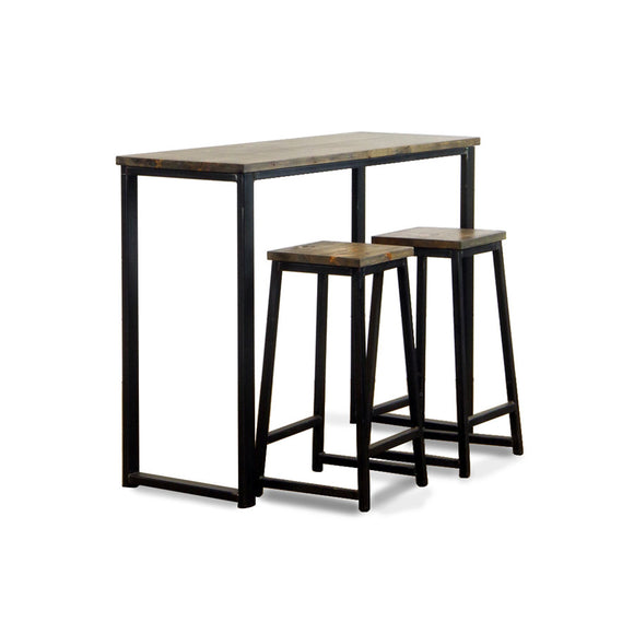 industrial wood and metal bar table with stools