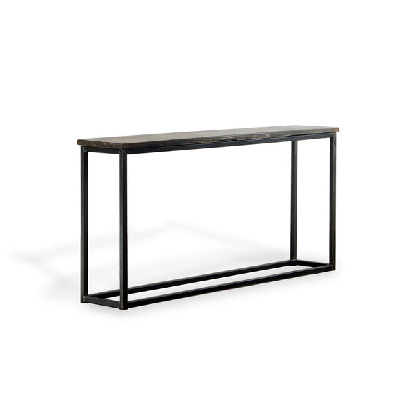 solid rustic wood and metal console table