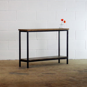 industrial loft console table with shelf
