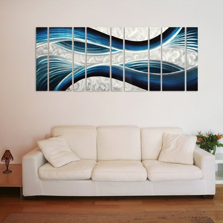 "Blue Desire Metal Wall Art, 9-Panels Measures 86""x 32"", 3D Wall Art for Modern and Contemporary Décor"