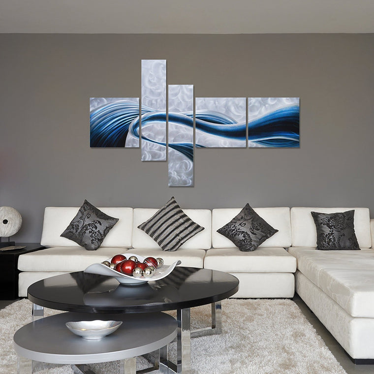 "Blue Desire Metal Wall Art - 5-Panels Measures 69""x 40"" - Great for Indoor and Outdoor Settings"