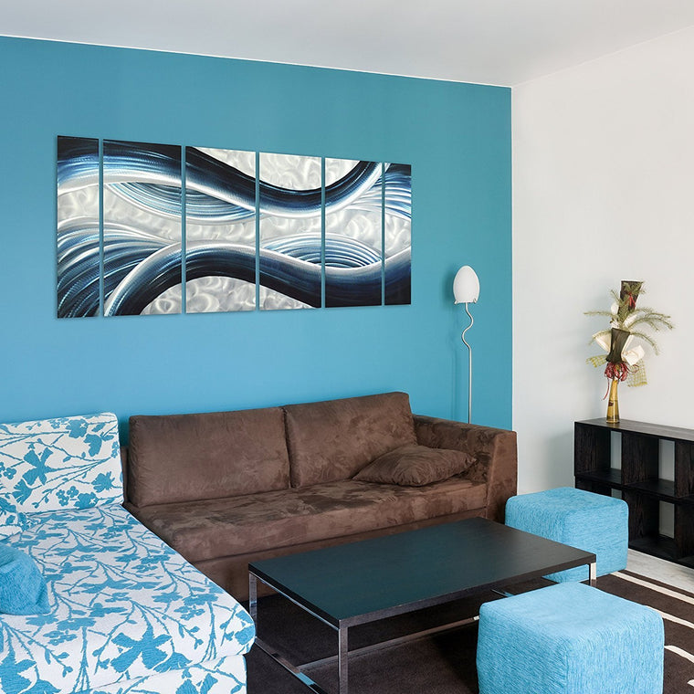 Blue Desire Metal Wall Art, 3D Wall Art for Modern and Contemporary Decor, 6-Panels Measures 24