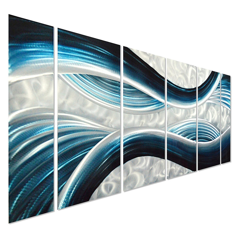 "Blue Desire Metal Wall Art, 3D Wall Art for Modern and Contemporary Decor, 6-Panels Measures 24""x 65"""
