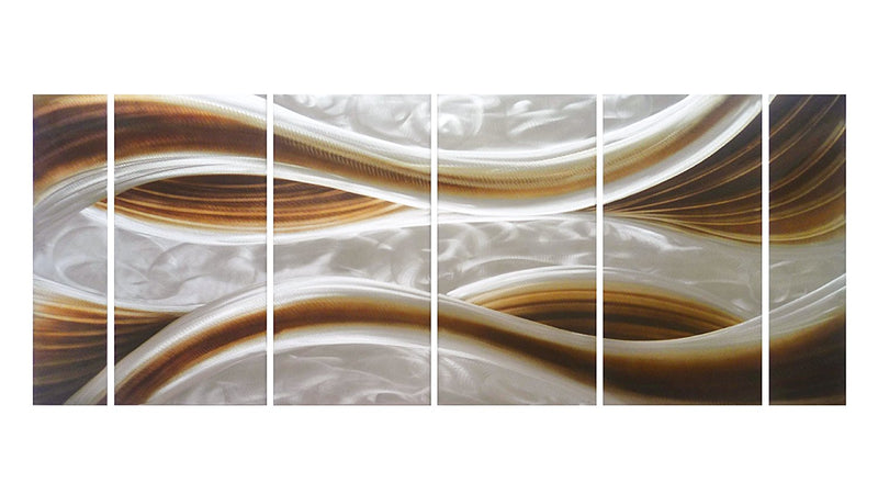 "Caramel Desire Metal Wall Art, 6-Panels Measures 24"" x 65"", 3D Wall Art for Modern and Contemporary Décor"