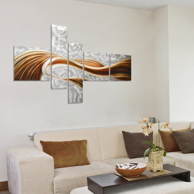 "Caramel Desire Abstract Wall Art Decor Sculpture - Set of 5 Panels 69"" x 40"""