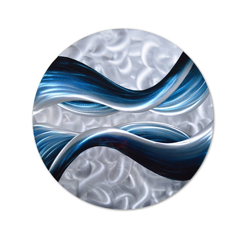 "Blue Desire Metal Wall Art, Small Round Piece Measures 32""x 32"", 3D Wall Art for Modern and Contemporary Decor"