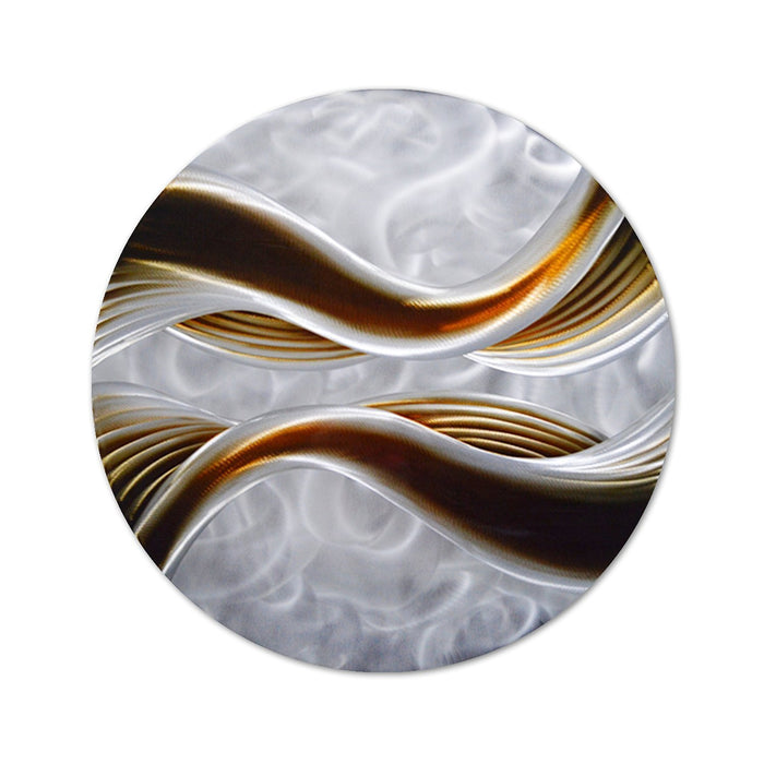 "Caramel Desire Metal Wall Art, Round Metal Wall Decor of One Panel Measures 32""x 32"", 3D Modern Decor"
