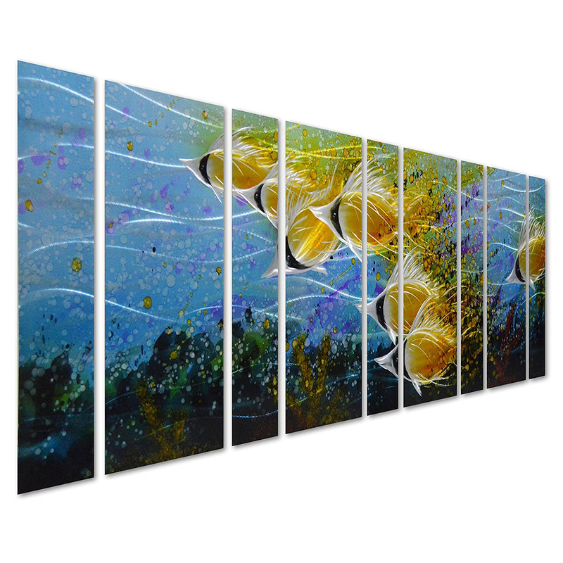 "Blue Tropical School of Fish Metal Wall Art, 9-Panels of 86""x 32"", 3D Wall Art for Modern and Contemporary Décor"