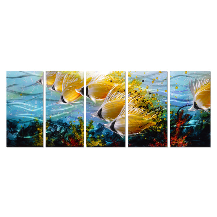 "Blue Tropical School of Fish Metal Wall Art, 3D Wall Art for Modern and Contemporary Décor, 5-Panels, 24""x 64"""