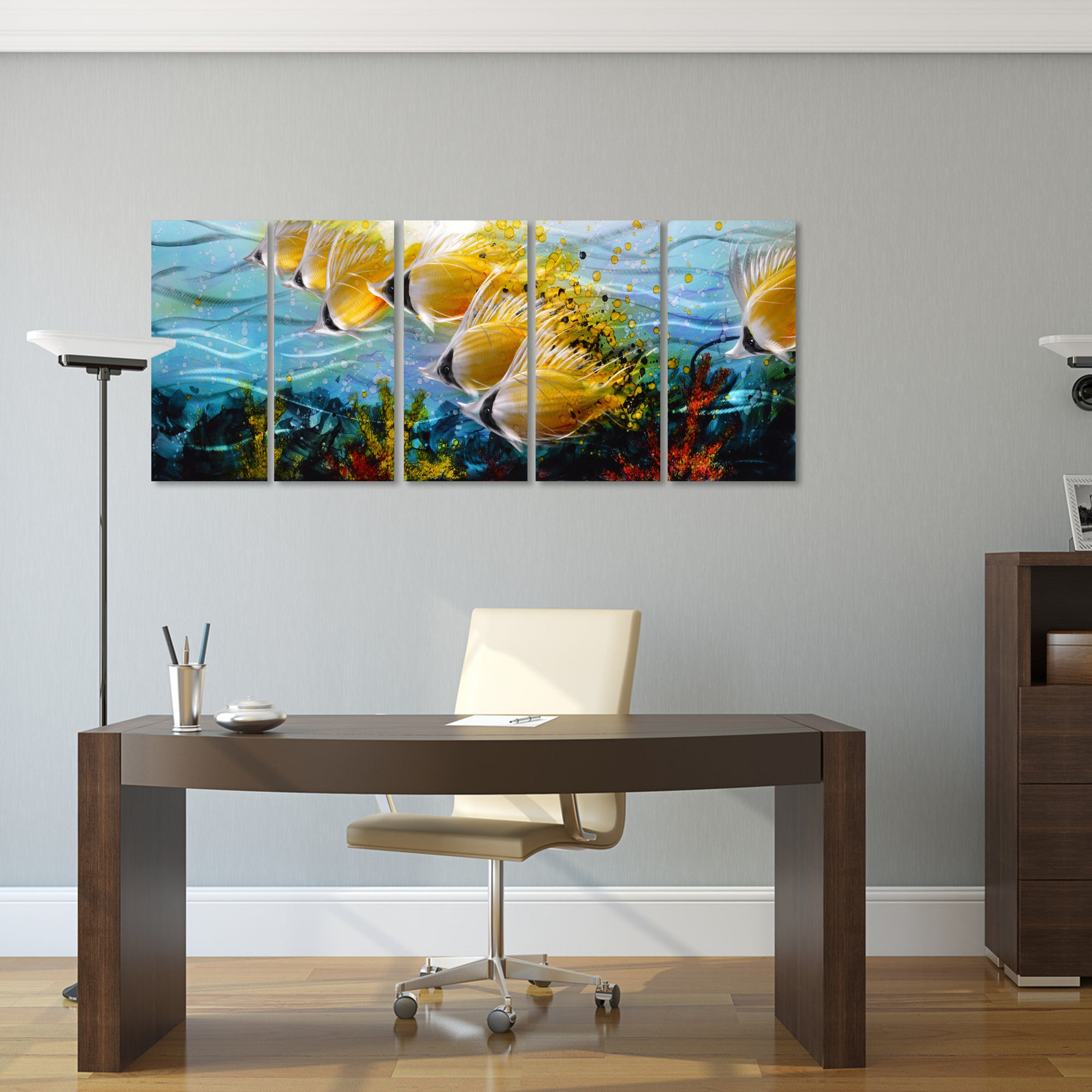 ... Blue Tropical School Of Fish Metal Wall Art, 3D Wall Art For Modern And  Contemporary ...
