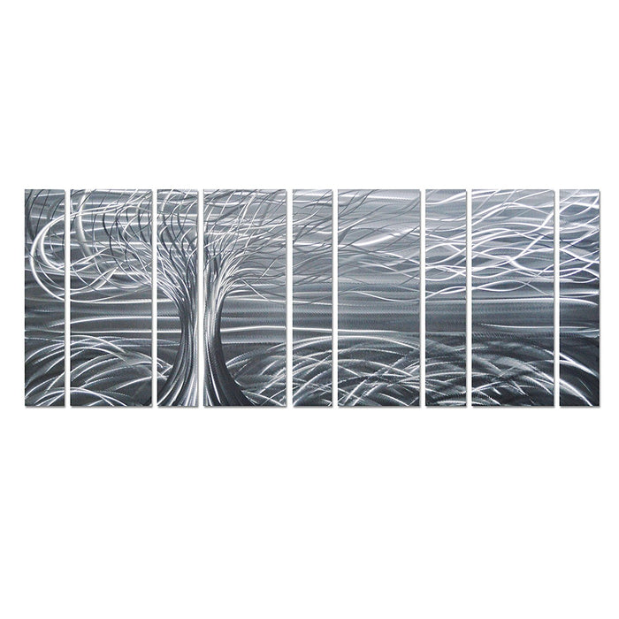 "Willow Tree of Life Metal Wall Art, Abstract Silver Sculpture Metal Wall Decor, 9-Panels, 86""x 32"""