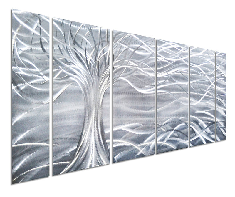 "Willow Tree of Life Metal Wall Art, Abstract Silver Sculpture Decor, 6-Panels 24""x 65"""