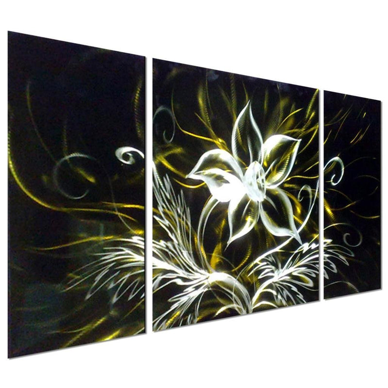 "Stunning Night Flower Abstract Aluminum Metal Wall Art, Set of 3 Yellow Black and Silver Panels of 50"" x 24"""
