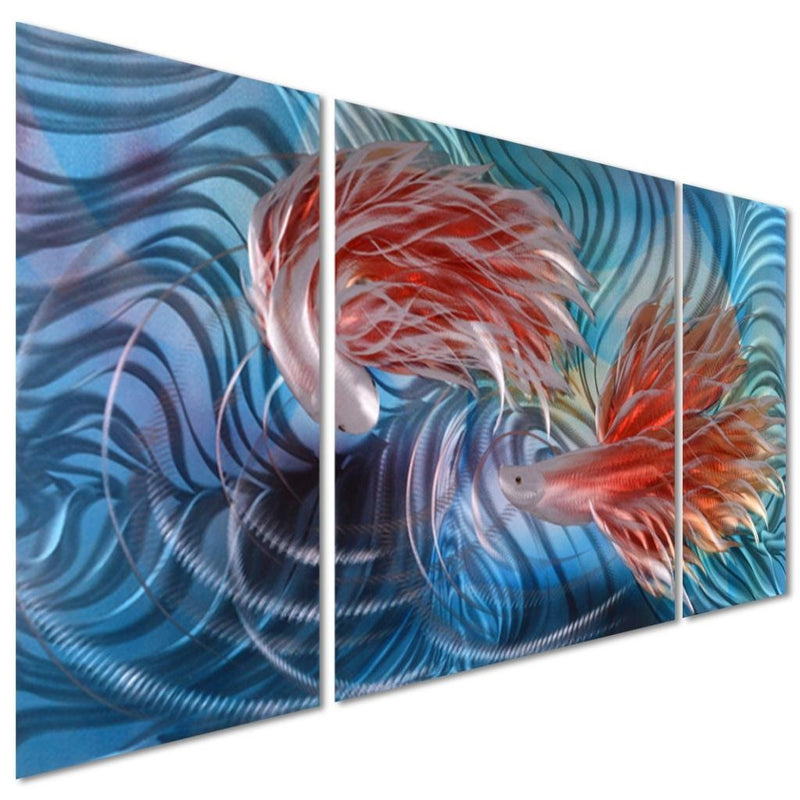 "Tropical Fish Love Metal Wall Artwork Decor - Blue Modern Decorative Nautical Sea Art Sculpture - Set of 3 Panels 50"" x 24"""