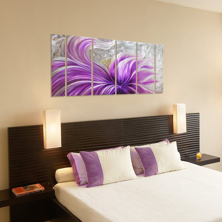 Purple Blossoms Flower Metal Wall Art for Modern and Contemporary Decor, 6 Panels Measures 24